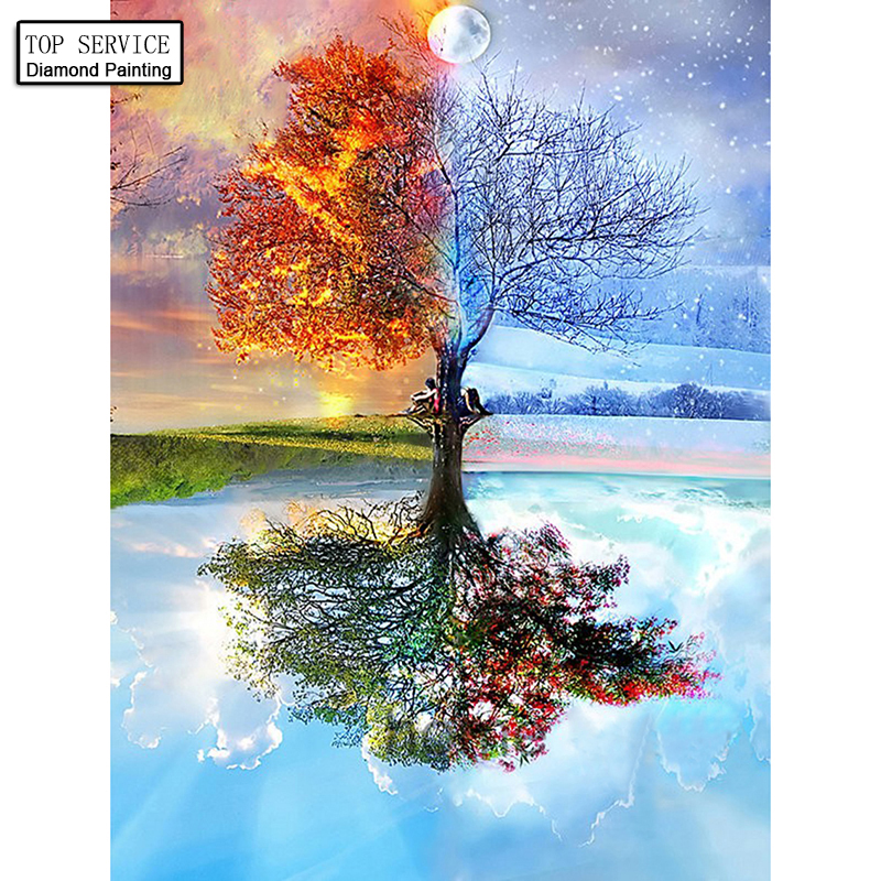100% Full DIY Seasons Diamond painting Tree Patterns 5D full Diamond Painting