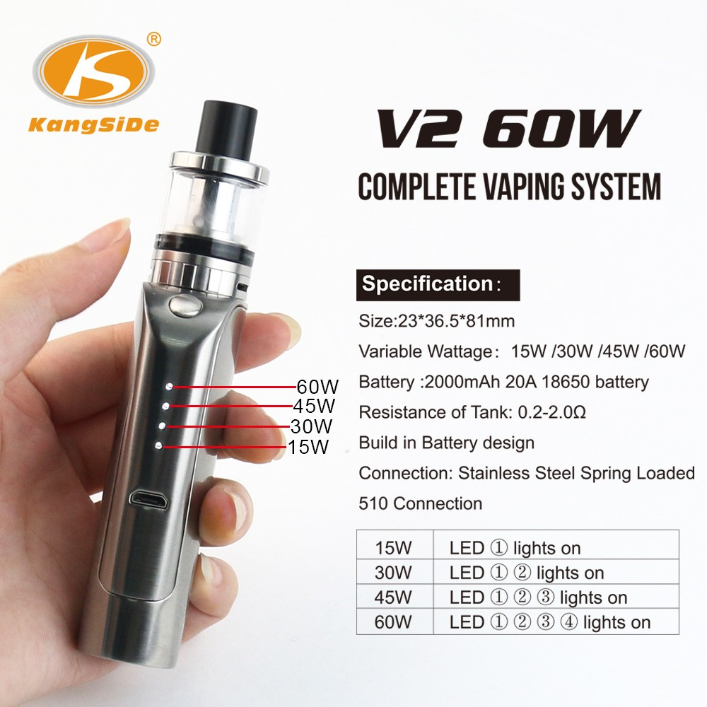 vape pen starter kit e pipe V2 by the Kangside ego upgrade, work with 18650 battery