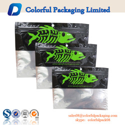 Plastic zipper bag fish feed bag fish lure packaging euro hole with logo printed