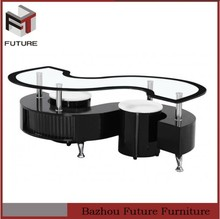 modern black s shape glass coffee table with stools