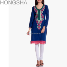 Latest Kurti Embroidery Neck Designs Blue Designer Fancy Kurti HSD1355
