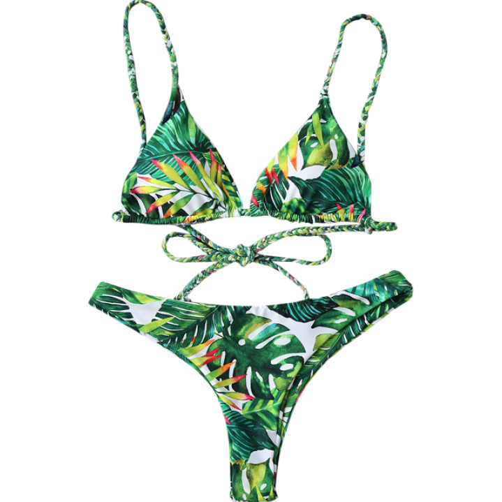 Swomsuit for women 2017 New designs hot sale latest design green sexy japanese girl Tropical Print Plunge Bikini custom