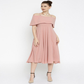 Women Pink Fit And Flare Dress & Frivolous Dress Order Off The Shoulder Pink