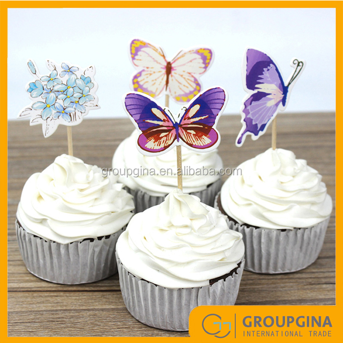 Butterfly and Flower Kids Birthday Party Cupcake Toppers Decoration