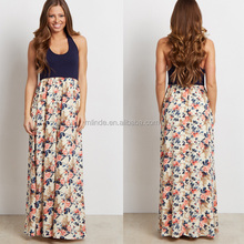 Western Gowns Party Dresses Floral Print Jersey Knit Wrap Contrast Muslim Maxi Long Dress Pictures Of Latest Gowns Designs