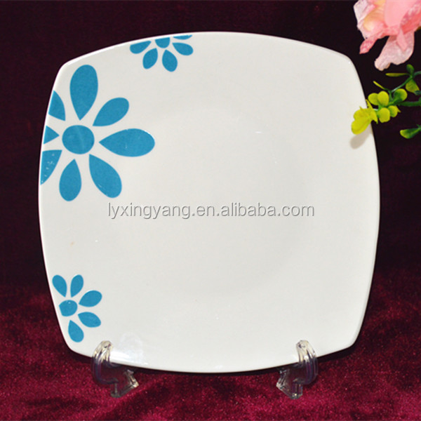 wholesale square shape porcelain plate for sale,decal pinting porcelain square plate,personalized porcelain square plates