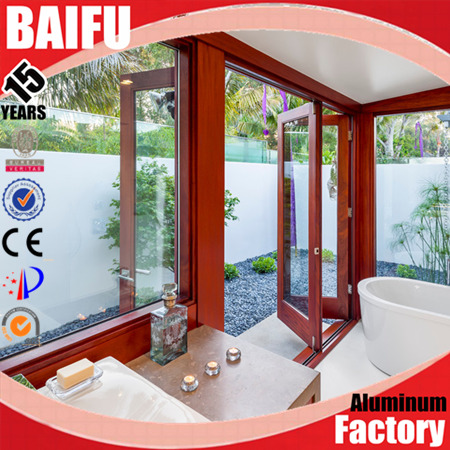 BaiFu Modern house folding door toilet use with double glass and high quality curved folding door