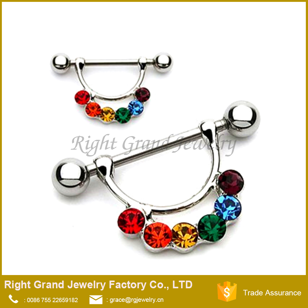 Colorful Rainbow CZ Jewelled 316L Surgical Steel Nipple Piercing Rings