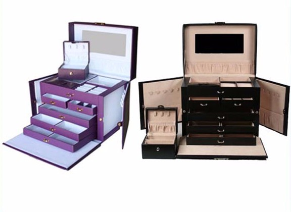 Black Leather Jewelry Box Travel Case and Lock