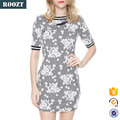 New Fashion Casual Dress Rose Printed Monochromatic Fitted Summer Dresses