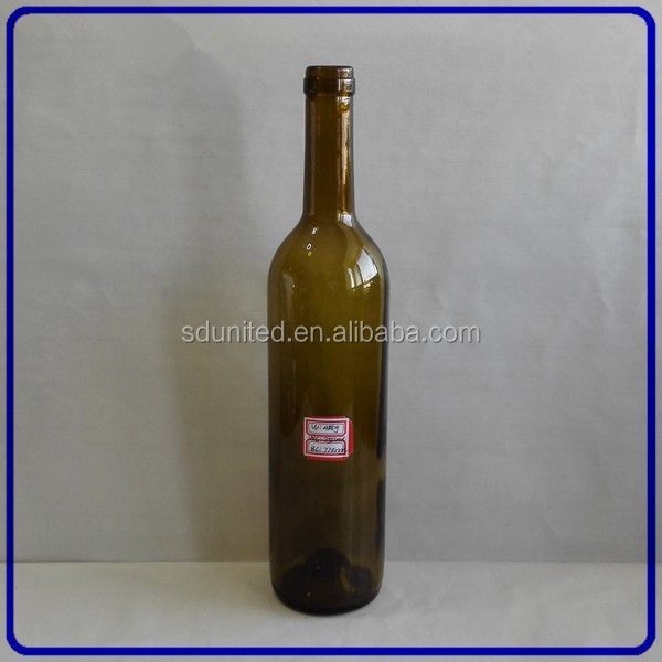 Wholesale 750ml amber glass bottle of red wine with cork