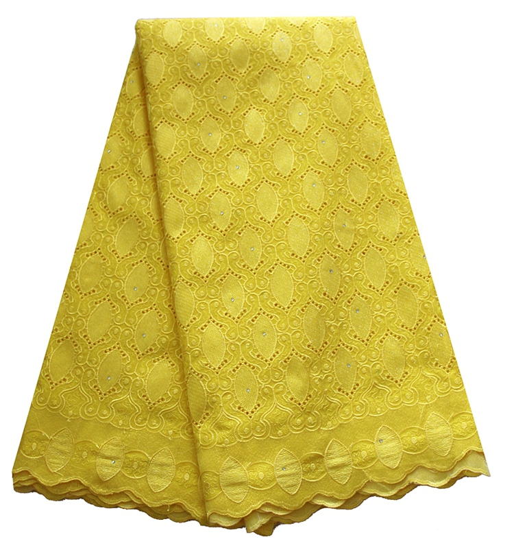 High quality party dress embroidery stoned yellow swiss voile lace in switzerland