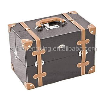 HX-BL144 Makeup Case Artist Cosmetic Organzeir, 4 Trays, Adjustable Dividers, Locking with Shoulder Strap