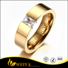 6mm Women's Titanium Wedding Band Ring Latest Simple Gold Ring Design With Cubic Zirconia