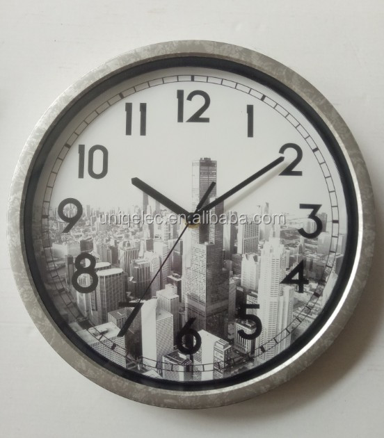 Cheap round plastic home wall clock decor