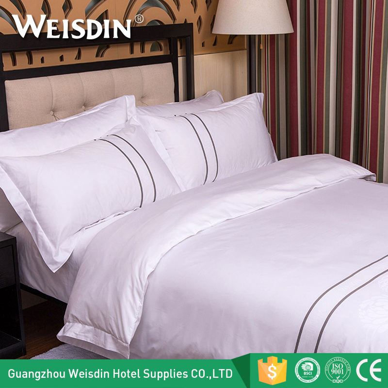 China suppliers professional custom hotel bedding linen bed set woven plain dyed cotton bedding set luxury