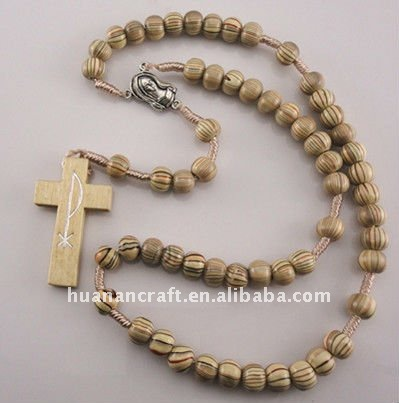 Europen style 8mm Wooden Beads Cord Rosary