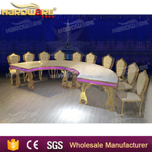 white MDF top semi-circle table,led semi-circle tables for hotel,stainless steel leg dining table