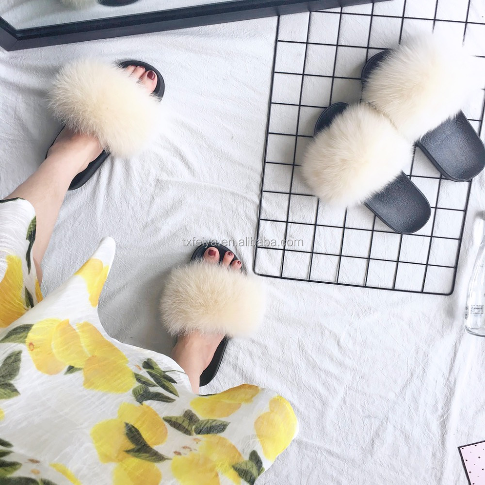 2017 Obsessed Soft Fox Fur Slippers Women Real Fur <strong>Slides</strong>