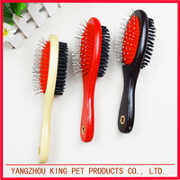 High quality vacuum pet comb dog brush with wooden handle