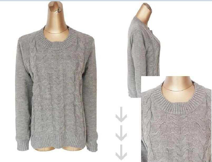 wholesale OEM custom women chunky thick cable heavy winter pullover sweater