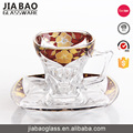 Unique shape golden decal glass tea cup and saucer wholesale in China