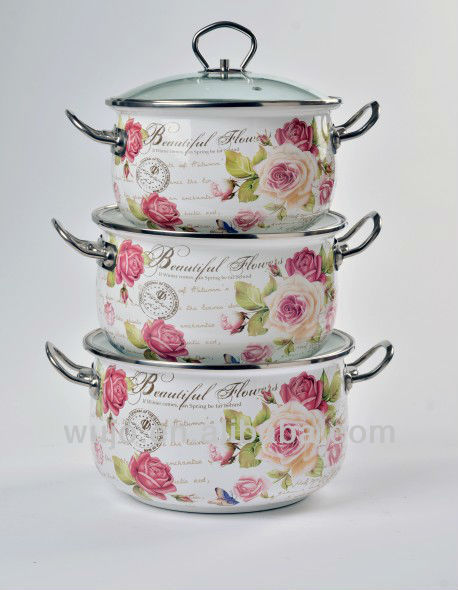 FULL DECAL big belly casserole with glass lid,S/S handle