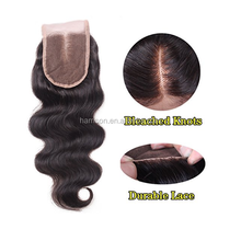 Brazilian Body Wave Human Hair Lace Front Closure Bleached Knots Middle Part Swiss Lace Closure with Baby Hair
