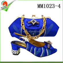 MM1023 Queency Wholesale Supplier Designer New Women Evening Dress Shoes with Matching Bags for Nigeria Party