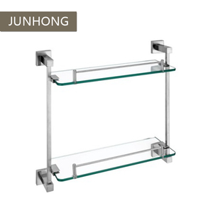 Simple stainless steel bathroom corner wall shelf glass