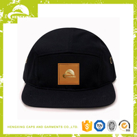 fashion cheap custom Leather Patch 5 panel hats