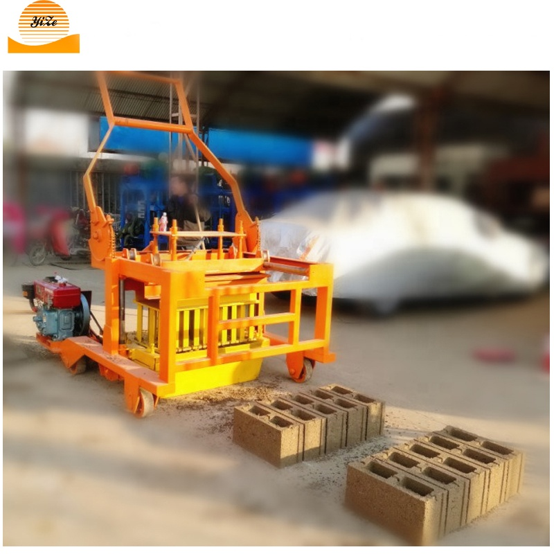 Diesel Engine Mobile Hollow Concrete Block Brick Making Machine for manual cement bricks block maker