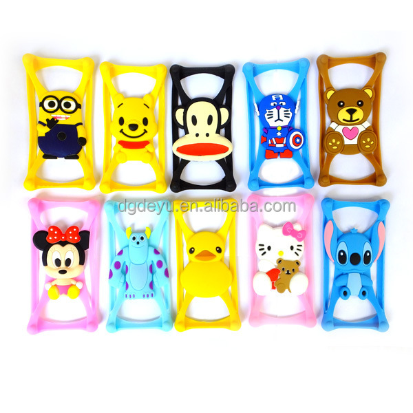 hot selling creative universal cartoon silicone bumper case for mobile phone