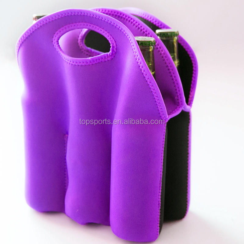 wholesale factory price high quality neoprene 6 pack bottle carrier drink cooler bag