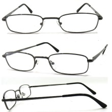 Shinny Gun Frame Color With Black PC Tips Design Reading Glasses