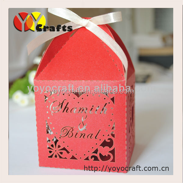 Laser Cut Ivory color Wedding Favor Boxes with Ribbon Various of Colors from YOYO Crafts