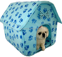 Pink Cat/Dog Blue Paw Prints Collapsible Pet House Blue