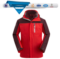 Red double ski wear good quality cheap price windproof waterproof mens pullover winter jackets
