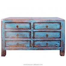 chinese reclaimed wood blue color six drawers side cabinet