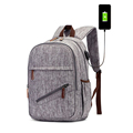 Vintage style elegant water repellent fabric mochilas escolares femininas plain black modern backpack with USB Charging