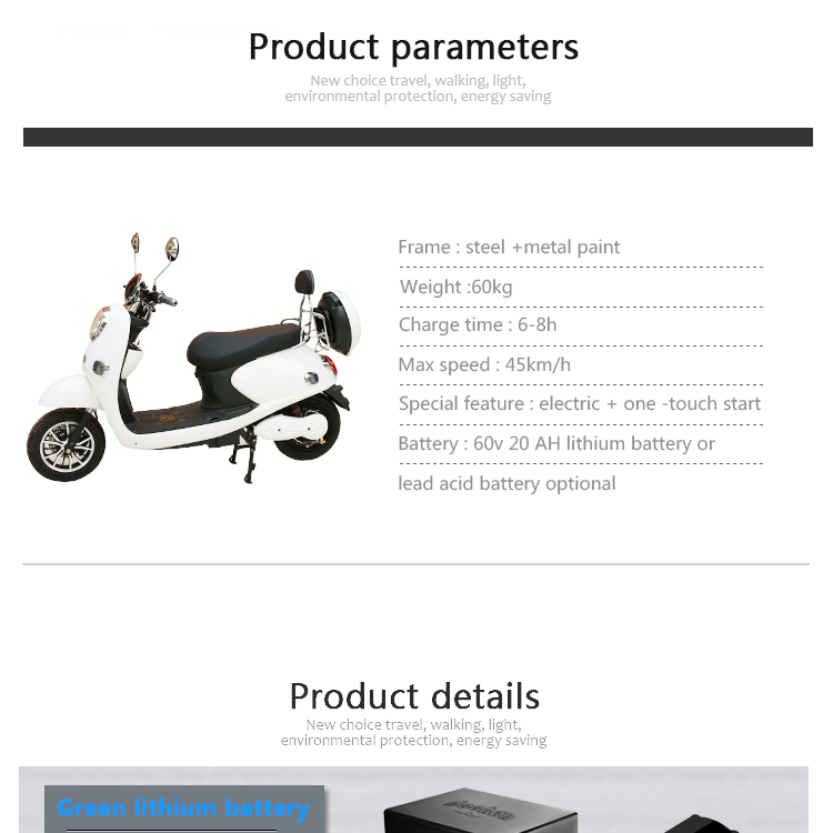 Chinese Factory 800W60V Chopper Electric Motorcycle