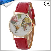 2017 Hot Sale New Women Men Earth World Map Watch Alloy Analog Quartz Leather Wrist Watches Gifts High Quality Watches LW063