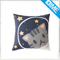 Cute Funny Cat and galaxy full printing Square Linen Vintage Decorative Pillowcase