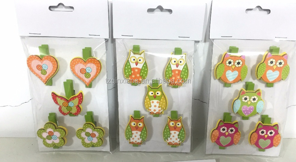 5/S Wooden paper Clips with colorful painting owl heart for Easter decorations