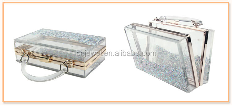 Wholesale Moving Glitter Transparent Party Evening Acrylic Clutch Bag Box with Liquid Women Purse Metal Frame Handbag