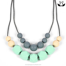 Wholesale Double Deck Bead Safe Baby Silicone Teething Necklace