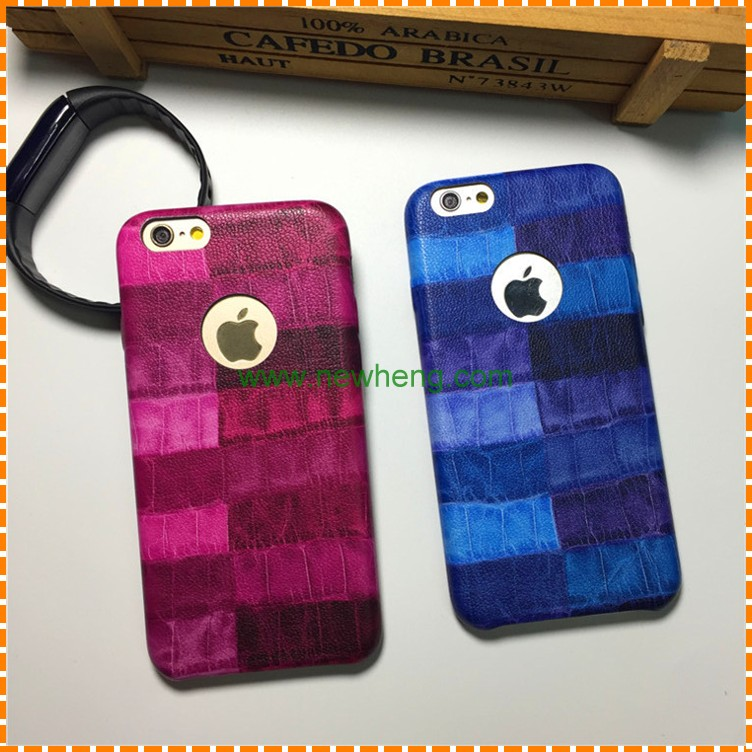 Contrast Color stripe Stick skin leather hard pc phone cover case for iphone 7 8