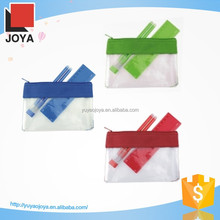 Multi-colored Clear Plastic Pencil Case with Ruler and Pen