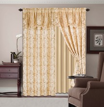 5pcs Luxury Jacquard Window Curtains with Attached Valance And Taffeta Backing Living Room