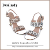 (EZHS14-2331-1) Printed snake leather chunky metal heel sandals sexy high heel slingback buckle fashion lady shoe